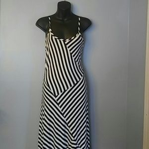Monteau black/white stripe Maxi dress S